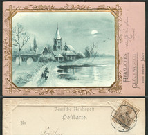 NEUJAHR 1900 Rosa Gold- Prägekarte Mit Blauer Litho Einlage Bedarf Mit Germania > Hanau - Anno Nuovo