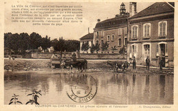 - COURSON Les CARRIERES (89) -  Groupe Scolaire Et Vaches à L'abreuvoir (texte Intéressant)  -25186- - Courson-les-Carrières