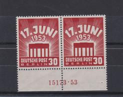 Berlin (West) 1953 Volksaufstand In Der DDR Und Ostberlin Mi 111 ** Superb Han 15173 Paar Unterrand (Mi 360 €) - Unused Stamps