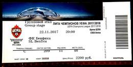 Football Tickets - ZSKA Moscow - SL  BENFICA, 2017 , EURO - CUP. - Tickets & Toegangskaarten