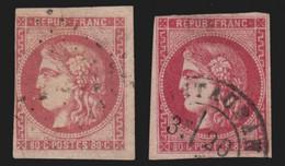 France N°49, 80c Rose, Lot De 2 Nuances - COTE +700 € - 1870 Emisión De Bordeaux