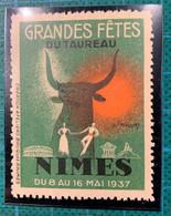 Vignette - TAUROMACHIE  - Nîmes - Grandes Fêtes Du Taureau - 1937 - Neuve Sans Gomme - - Altri