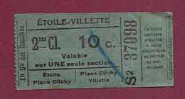 130121 - TICKET CHEMIN DE FER TRAM - Cie Gle Des Omnibus - PARIS ETOILE VILLETTE S2 37098 2 Cl 10c - Europe