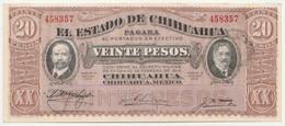 MEXIQUE - 20 Pesos Chihuahua - 1914 Série K  Enero   1915  - N° 458357  ( Neuf ) - Mexique