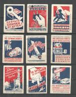 RUSSIA USSR 1960 Matchbox Labels 9v - Hide Matches From Children - Matchbox Labels