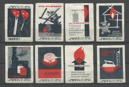 RUSSIA USSR 1964 Matchbox Labels 8v - Matchbox Labels