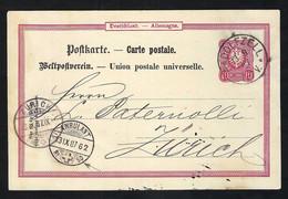 ALLEMAGNE 1887:  CP Entier Postal De 10pf De Radolfzell Pour La Suisse - Entiers Postaux