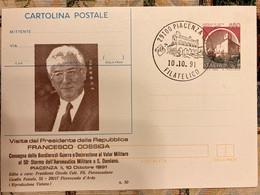 Italia Intero Postale Castello Di Acaya Con Sovrastampa Privata Visita Del Presidente Cossiga A Piacenza Bassa Tiratura - Entero Postal