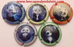 5 BELLES CAPSULES CHAMPAGNE LEBRUN PAUL PANDA REF N°53 A 53d NEWS - Collections