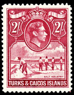 Turks & Caicos Islands 1944 SG 203a 2/= Bright Rose-carmine    Mint - Andere