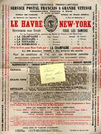 """Rare Document Compagnie Générale Transatlantique, Bateau: """"La Champagne"""", 1899, Avec Enveloppe > Wohlen, Suisse, Et Cp - Schiffe"""