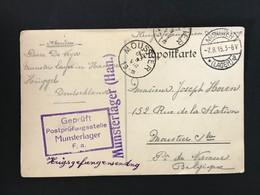 1915 Munster (Lager) A - Moustier Kriegsgefangenesendung - Gepruft Postprufungsstelle Munsterlager F.a. - Krijgsgevangenen