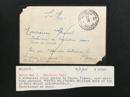 1915 Soldatenpost POSTES MILITAIRES BELGIQUE - BELGIE LEGERPOST - PARIS - Sonstige Briefe U. Dokumente