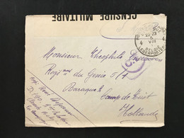 191. Soldatenpost POSTES MILITAIRES BELGIQUE - BELGIE LEGERPOST - Camp De Heist (Hollande) Censure Militaire 29 - Sonstige Briefe U. Dokumente