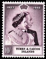 Turks & Caicos Islands 1948 SG 209 10/= Mauve Royal Silver Wedding    Mint - Andere
