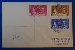 C BERMUDES BELLE LETTRE 1937 POUR LONDRES GREAT BRITAIN + AFFRANCHISSEMENT PLAISANT - Andere
