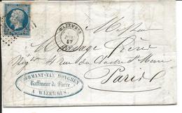 France LAC Mourmant Van Donghen Losange PC 3690 Wazemmes 10/12/57 / YT 14A - Manual Postmarks