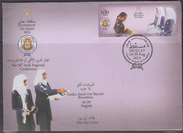 SCOUTS - OMAN - 2013 -  GIRL GUIDES  ON ILLUSTRATED FIRST DAY COVER - Storia Postale