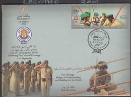 SCOUTS - OMAN - 2013 -  BOY SCOUTS ON ILLUSTRATED FIRST DAY COVER - Storia Postale