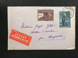 OBP302+304 Op EXPRES Voorzijde Gent - Hougaerde - Brieven En Documenten