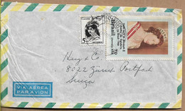 BRAZIL 1968 Cover Sent To Suisse 2 Stamps (1 Stamp Of QUEEN ELIZABETH) COVER USED - Cartas