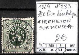 NB - [844256]TB//O/Used-Belgique 1929 - N° 283, Relais (étoiles) *HERMETON SUR MEUSE*, 35c, Lion Héraldique, Lions, Féli - Postmarks With Stars