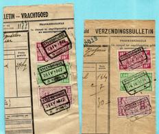 2 Spoorwegfragmenten (1941-1942), Afst. STEENBRUGGE - 2 TYPES - 1923-1941