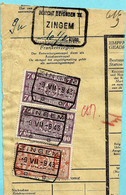 Spoorwegfragment, Afst. ZINGEM 09/07/1943 + Stempel GEWICHT BEVONDEN - 1942-1951