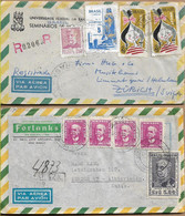 BRAZIL 1958/1969 Two Registered Covers Sent To Zurich 5+4 Stamps COVER USED - Cartas