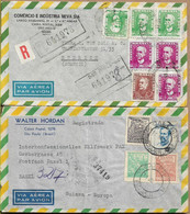 BRAZIL 1958/1969 Two Registered Covers Sent To Suisse 7+4 Stamps COVER USED - Cartas
