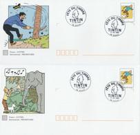 Série 5 PAP TINTIN Avec OBLITERATION FETE Du TIMBRE 2000 - Validité Monde - PAP: Sonstige (1995-...)