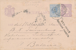 Nederland -> Indië - 1890 - 2,5 Cent Briefkaart + 5 Cent Willem III - NED.INDIË / BRITSCHE PAKKETB - Gebreken - Nederlands-Indië