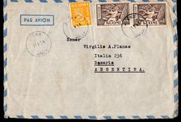 Finland - 1954 - Fragment Letter - Par Avion - Envoyé En Argentine - A1RR2 - Lettres & Documents
