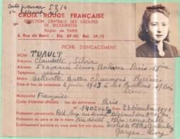 Guerre 1939-45 - CROIX-ROUGE FRANÇAISE - FICHE D'ENGAGEMENT Claudette TUAULT - 22 Mai 1945 - War 1939-45