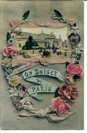 75008 Un Baiser De PARIS - Le Grand Palais, Fiacres Et Automobiles - Joli Fond Façon Cuir Granité - Paris (08)