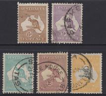 AUSTRALIA 1929-30   KANGAROO  SET 6d TO 5/-  VFU (5) STAMPS SMW  SG.107 - 111 - Used Stamps