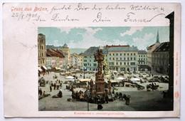 Czech Republic / Böhmen: Brünn (Brno), Krautmarkt Und Dreifaltigkeitssäule   1901 - República Checa