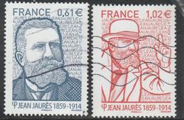 FRANCE 2014 DYPTIQUE JEAN JAURES OBLITERE SUR FRAGMENT YT 4869 + 4870  - P4869/70 - Usati