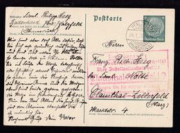 Hindenburg 6 Pfg. Ab Pfalzfeld (Hunsrück) 24.1.38 Nach Clausthal-Zellerfeld  - Stamped Stationery