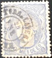 ESPAÑA 1870 GOBIERNO PROVISIONAL REGENCIA  DUQUE DE LA TORRE EDIFIL 107 50 M. ULTRAMAR MATASELLOS TORRELAVEGA CANTABRIA - Gebraucht