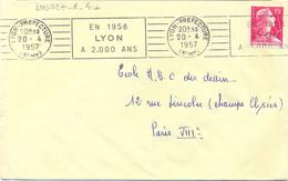 RHONE : LYON-PREFECTURE (3e Arr) OMec RBV 20-4-1957 EN 1958 / LYON / A 2.000 ANS - Annullamenti Meccanici (pubblicitari)
