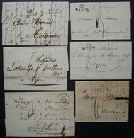 Nancy Lot De 6 Lettres Avec Marques Postales Datant Des Années 1820, Différentes Destinations, Voir Photos - 1801-1848: Précurseurs XIX