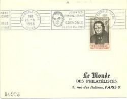 ISERE - Dépt N° 38 = GRENOBLE GARE 1955 = FLAMME CONCORDANTE N° 550 = RBV ' Journées STENDHALIENNES / STENDHAL' - Mechanische Stempels (reclame)
