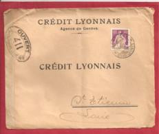 N°Y&T 125(perforés CL)AGENCE GENEVE  Vers  FRANCE    Le 13 NOVEMBRE1915 (3scans) - Lettres & Documents