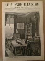 4  Gravure 1879  ANGLETERRE  CAMDEN-HOUSE  Le Cabinet Du Prince Impérial Imperatrice Eugénie WOOLWICH CHISLEHURST - Zonder Classificatie