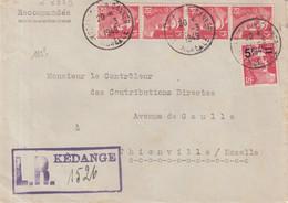 """FRANCE :  AFFRANCHISSEMENT A 60 F . TYPE MARIANNE DE GANDON  . LR . """" KEDANGE """" . 1949 . - Storia Postale"""
