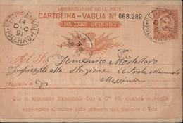 Entier Humbert I Style YT 35 20ct Cartolina Vaglia Da Lire Quindici CAD Palermo 14 DIC 91 Settesalnoli ? Arrivée Messina - Stamped Stationery