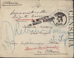 Pour Corps Expéditionnaire Italien En Albanie Evreux 14 5 17 Guerre 14 Censura + Al Mittente Per Indirizzo Insufficiente - Correo Militar (PM)