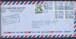 Planes. Montreal Airport. Montreal Registered Letter With 5 Aircraft Stamps With Tax Overcharge.Flugzeuge Mit Ratenüberl - Storia Postale