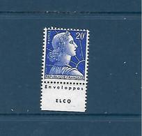 """20 F Marianne De Muller Type 1 Avec Publicité """"Enveloppes Elco"""" Neuf Sans Trace De Charnière - 1955- Marianna Di Muller"""